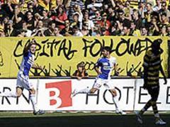 GCs Senad Lulic und Ricardo Cabanas bejubeln das 1:0.