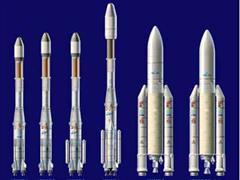 Die Ariane Familie: Ariane eins bis sechs (vlnr).