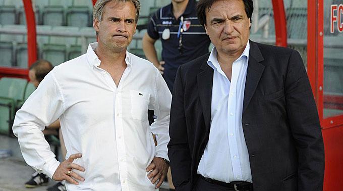 Sion Trainer Laurent Roussey mit Praesident Christian Constantin.