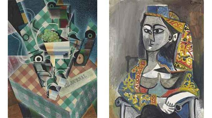 Links Juan Gris' «Nature morte à la nappe à carreaux», rechts ein Bildnis einer Frau, gezeichnet von Picasso.